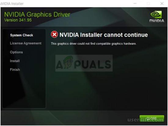 Драйвер Nvidia не обнаружил совместимого графического оборудования