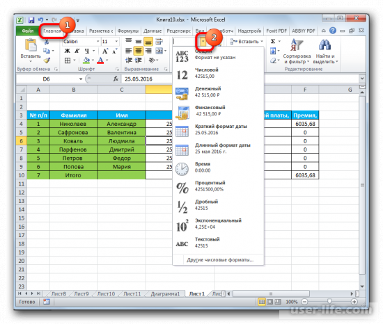 Форматирование таблиц в Excel