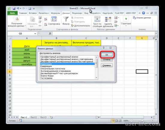 Корреляционный анализ в Excel