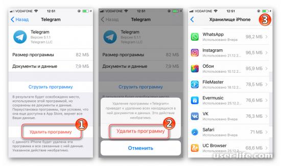 Как удалить Телеграмм