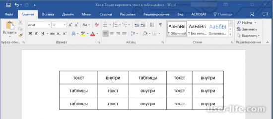 Как выровнять текст в таблице Ворд