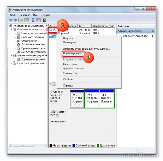 Как отформатировать диск C в Windows 7