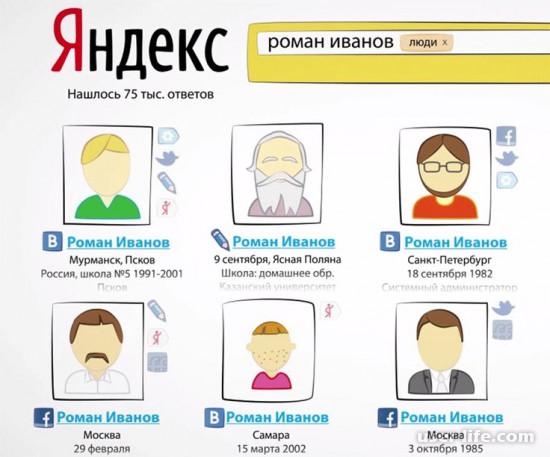 Поиск людей в Интернете Яндекс