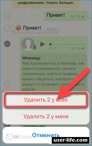 Как удалить чужое сообщение в группе WhatsApp