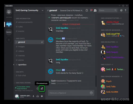 Выход из сервера канала беседы в Discord